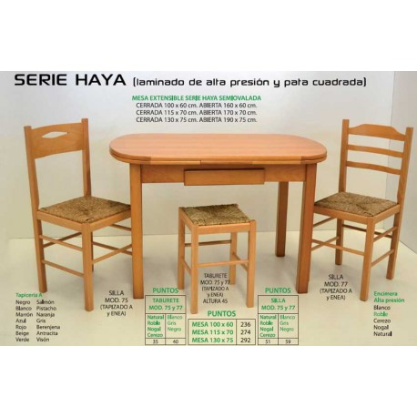 Mesa sillas y taburete de cocina Serie Haya IV